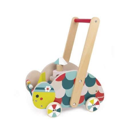 Janod Baby Forest Turtle Trolley and Building Blocks